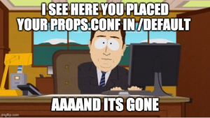 Figure 6 - Don't use .conf file in /default in Splunk
