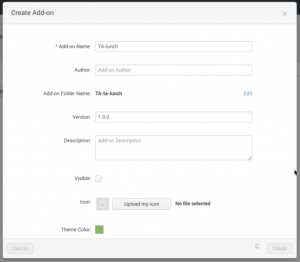 Figure 2 - The form in this window creates the Add-on in Splunk